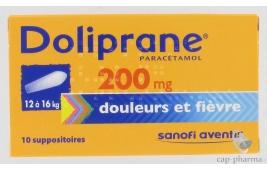 DOLIPRANE 200MG SUPPO/10 (12-16KG)